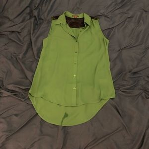 Express green and black button up top